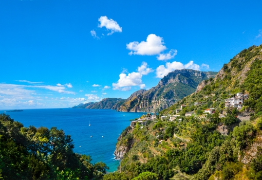 ocean, amalfi, coast, sorrento, italy, shoreline, coastline, beach, rocks, mountains, landscape, italian, vacation, travel, sea, mediterranean, blue, summer, nature, sunny, town
