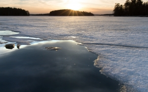 nature, winter, sunset, snow, ice, lake, forest, woods, sky, clouds, evening
