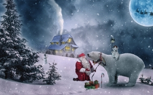 christmas, xmas, winter, santa claus, polar bear, gift, snow, cold, house, tree, night