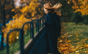 autumn, leaves, blonde, hair, blur, girl, landscape, nature, outdoors, park, scenery, scenic, trees, woman, woods