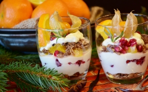 quark, quark cream, dessert, food, nutrition, eat, sweet dish, delicious, sweet, fruit, glass, christmas, christmas dessert, advent, pomegranate, orange, nuts, sugar, healthy, xmas