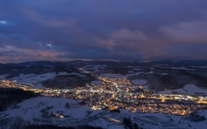 mountains, night, homes, snow, urban sprawl, winter, illuminated, wintry, sissach, village, lanterns, street lighting, landscape