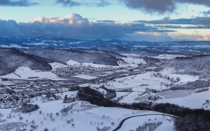 winter, wintry, snow, urban sprawl, snowy, landscape, mountains, dark, evening, nature