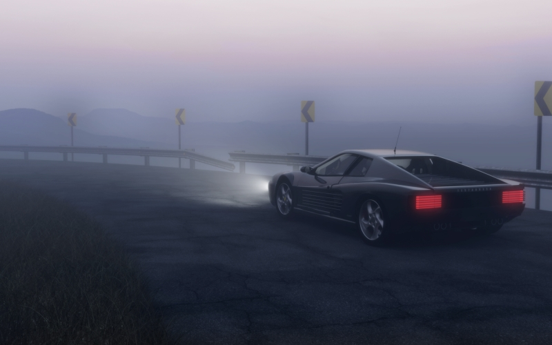 asphalt, beach, car, curve, dark, dawn, drive, fast, fog, foggy, highway, light, night, race, road, seashore, vehicle, water