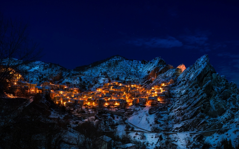 evening, houses, landscape, lights, mountains, outdoors, scenic, sky, snow, village, winter, night