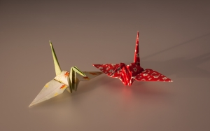 cranes, paper figures, origami, applied arts