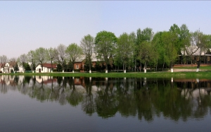 pond, village, rossoszyca, poland, rural, country