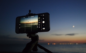 camera, iphone, night, evening, sunset, coast, sky, sea