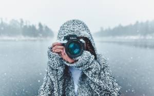 camera, forest, nikon, river, seasonal, snow, winter, woman, female, girl