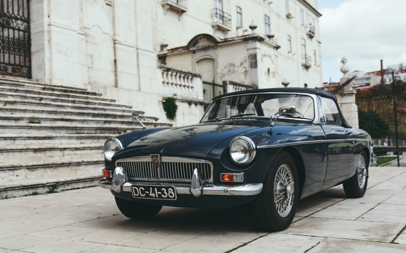 classic, black, mg, convertible, car, old