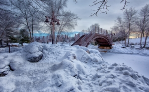 frost, frosty, frozen, ice, icy, lampposts, landscape, snow, trees, weather, park, winter, bridge, creek