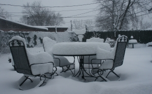 chairs, house, snow, table, weather, winter, yard