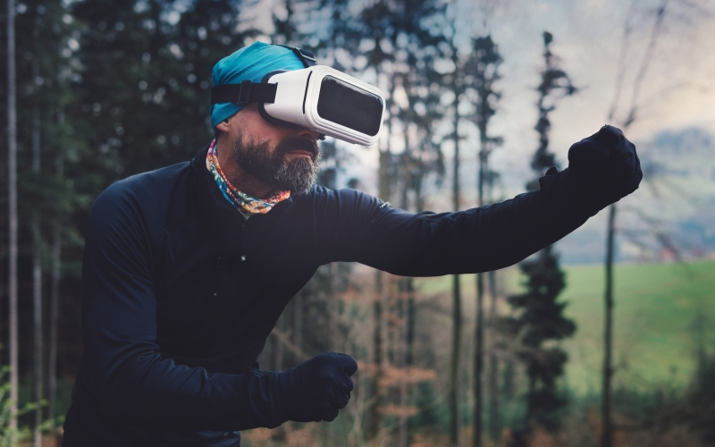 augmented reality, beard, male, men, man, forest, game, outdoors, outfit, park, person, pose, recreation, sports, technology, virtual reality, glasses, goggles, headset, vr