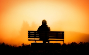 man, male, men, person, pension, third age, rest, silence, sunset, dawn, sun, outdoor, silhouette, landscape, nature, orange