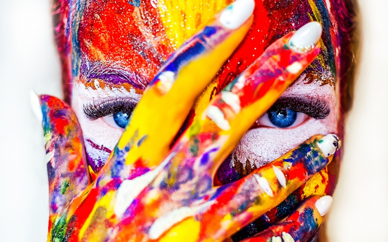 paint, makeup, cracky, girl, color, crack, creativity, hellouin, woman, eye, portrait, bright, beauty, beautiful, lips, rainbow, colorful, female, cracky