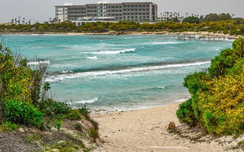 cyprus, ayia napa, lanta beach, sea, seashore, sand, dunes, resort, hotel, spring, tourism, travel, vacation