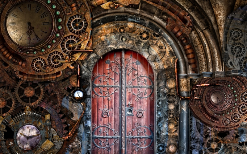 steampunk, gears, door, time, machine, mechanical, mechanism, cogwheel, machinery, clock, vintage, wheel