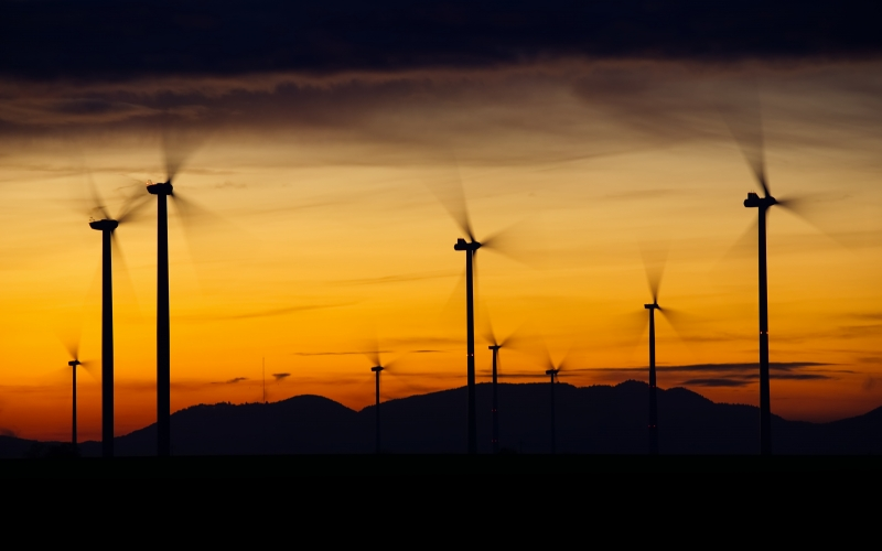 wind power, energy, environmental technology, rotor, power generation, wind energy, power supply, renewable energy, wind turbine, landscape, sky, sunset, afterglow, dusk, twilight, wind park,