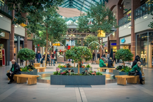 architecture, building, business center, city, crowd, fountain, green, mall, market, modern, pavement, people, seat, shop, stores, urban, waiting area