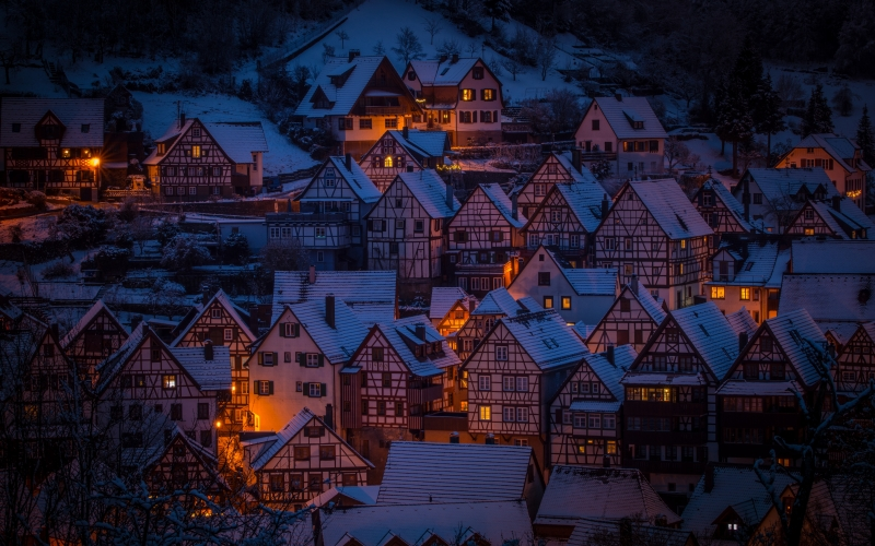 town, architecture, illuminated, dusk, city, old, houses, evening, roofs, landscape, schiltach, snow, winter