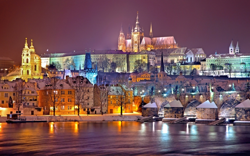 prague, winter, night, snow, prague castle, czech republic, praha, bridge, charles bridge, city, europe, capital, historically, vltava, river