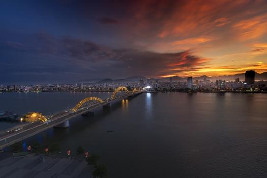 city, bridge, dragon, travel, vietnam, south river, danang, modern, sky, light, water, architecture, sea, reflection, night, asia, industrial, evening