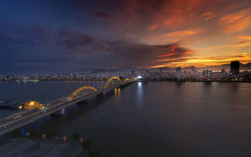 city, bridge, dragon, travel, vietnam, south river, danang, modern, sky, light, water, architecture, sea, reflection, night, asia, industrial, evening