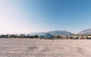 beach, transport, old, beetle, car, vintage, classic, volkswagen, sand, blue sky