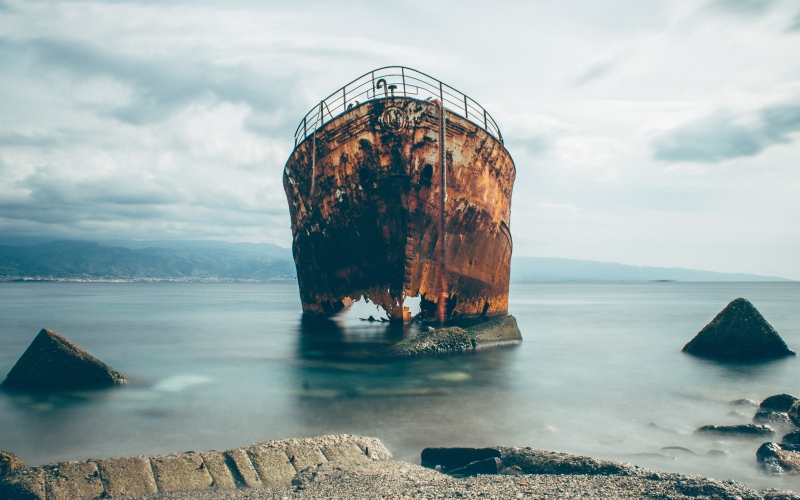 rusty, ship, sea, transport, boat, ocean, old, rocks, water, beach, coast