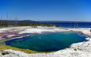 abyss pool, thermal, pool, nature, landscape, water, yellowstone, hot, outdoor, limestone, wyoming, geological, scenic, mountains, blue, sky
