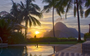 nature, vacation, el nido, palawan, philippines, cadlao resort, sunset, palms, pool, mountains, evening, landscape, idyllic, tropical