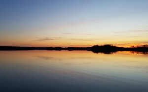 sunset, lake, sun, evening, water, twilight, clouds, sky, panorama, nature, poland, lubikowo, reflection, view, landscape, wielkopolska, peace
