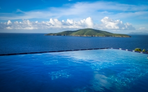 paradise, pool, carribean, blue, sea, landscape, mountain, sky, seascape, water
