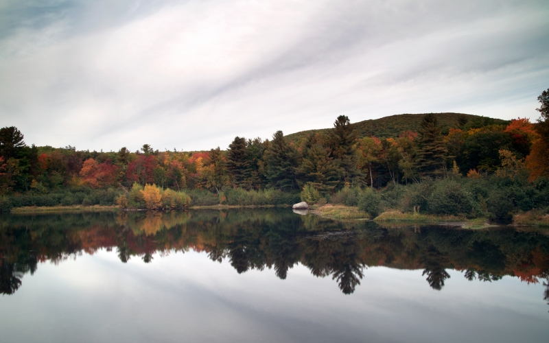 lake, nature, landscape, autumn, fall, foliage, trees, water, pond, sky, clouds, wood, reflection