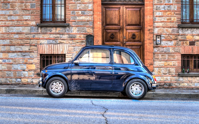 car, fiat, fiat 500, hdr, dynamic, vehicle, italy, cattolica, classic, old, city, vintage, automobile