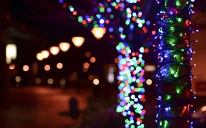 christmas lights, christmas, xmas, new year, night, street, holiday, decoration, fesive, bokeh