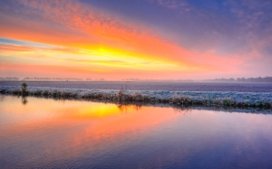 field, cold, sunrise, yellow, orange, blue, freeze, landscape, netherlands, morning, river, canal, water, reflection