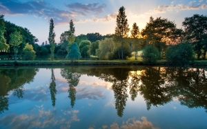 sunset, colorful, hdr, reflection, scenic, lake, nature, evening, summer, landscape, water, sky, outdoor, park, clouds