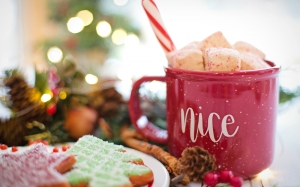 christmas, xmas, new year, hot chocolate, cocoa, nice, drink, hot, mug, cozy, holiday, beverage, cup, red, warm, comfort, marshmallows