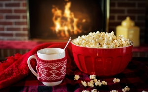 warm, cozy, popcorn, coffee, winter, fireplace, home, cold, fire, cup, comfort, december, comfortable, mug, room