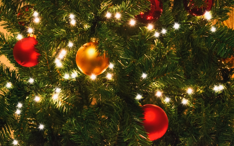 christmas, xmas, lights, christmas tree, new year, holiday, decoration, season, celebration, green, festive, texture, shiny, glowing, balls, ornaments