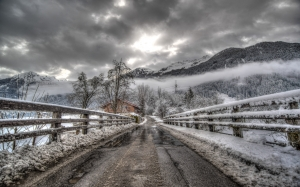 bridge, hdr, river, landscape, scenic, clouds, road, winter, mountain, snow, sky, house, nature, forest