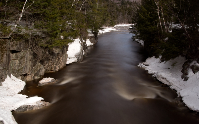 flow, stream, nature, landscape, river, water, snow, winter, rocks, trees, sky, clouds, mountains