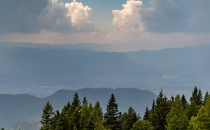 landscape, mountains, sky, trees, clouds, forest, nature