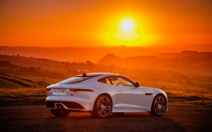 jaguar, jaguar f-type, car, auto, sunset, landscape