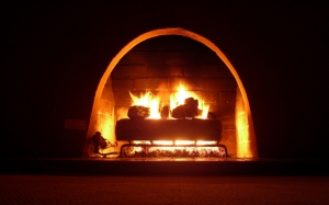 fireplace, warmth, glow, dark, light, cozy