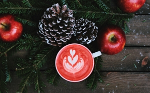 christmas, xmas, new year, coffee, apples, fir, braches, table, cones