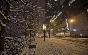 snowfall, february, city, street, night, evening, sidewalk, winter
