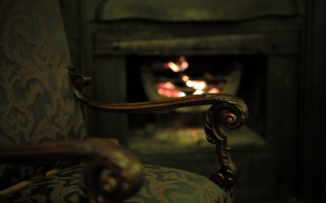 cozy, fireplace, chair, antique, interior, room