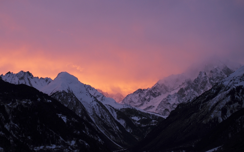 sunset, cloudy, evening, mont blanc, italy, landscape, mountain, snow, winter, sky, sunrise, morning, dawn, travel, dusk, alpine, peaks, february, skyfire, landform